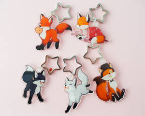 Fox collection:2.5 Inch Keyrings!2 Top Hat Fox