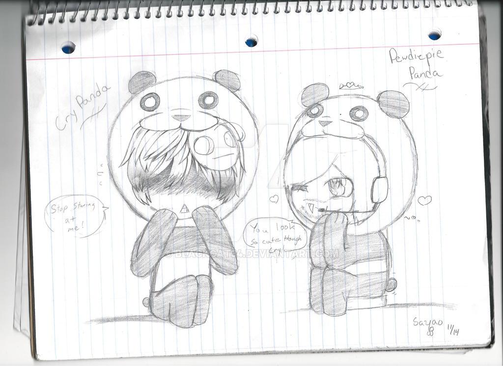 Pewdiepie Panda and Cry Panda by Blackcat34