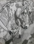 Native American Horse Pointillism