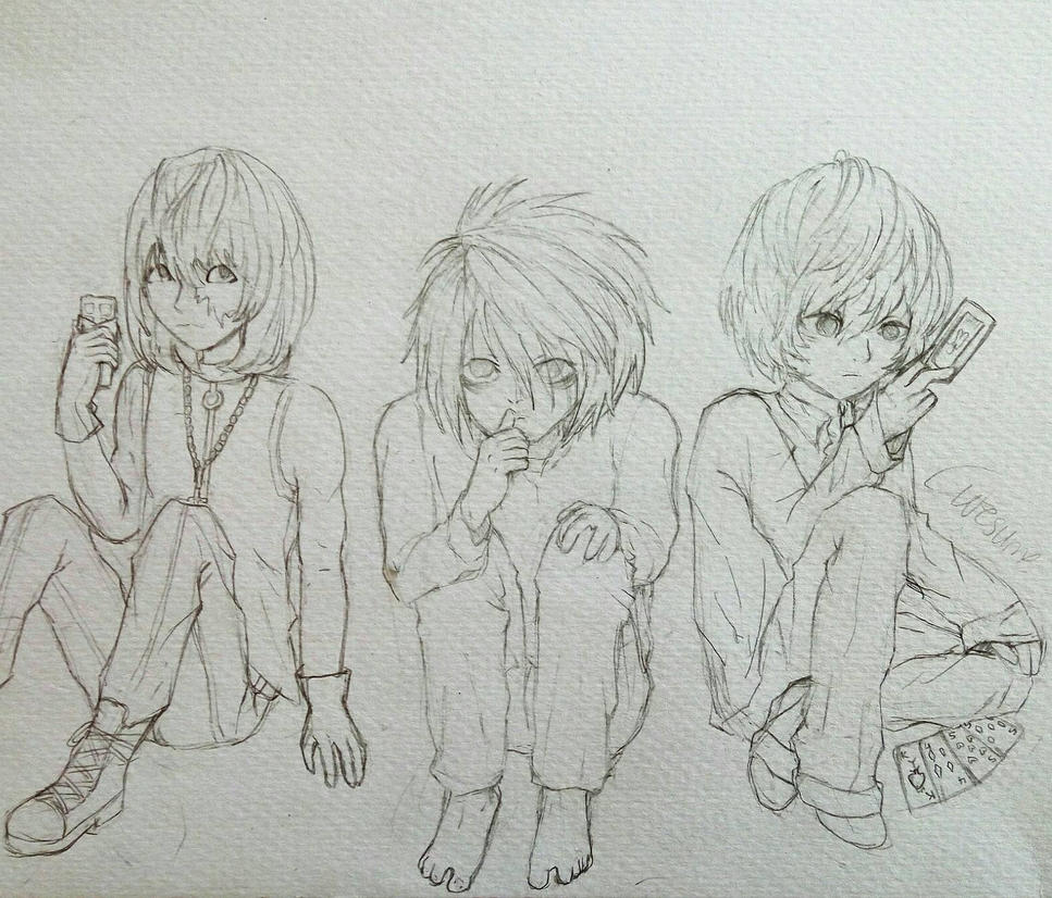 Lawliet,  Mello and Near by Cutesume