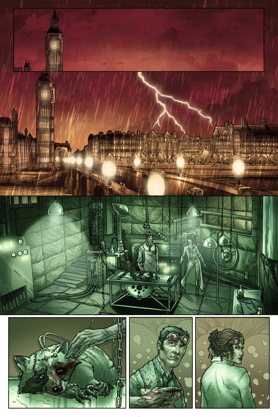 Lady Frankenstein Page 1 colored