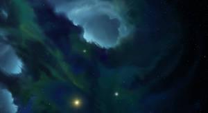 Blue and Green Nebula