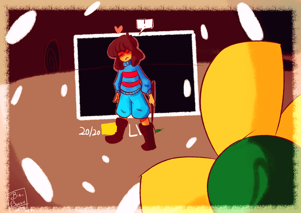 Daily Doodles day 002: Meeting Flowey by Bia-Bonne