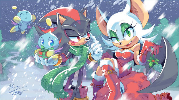 Shadow and Rouge Christmas Wallpaper