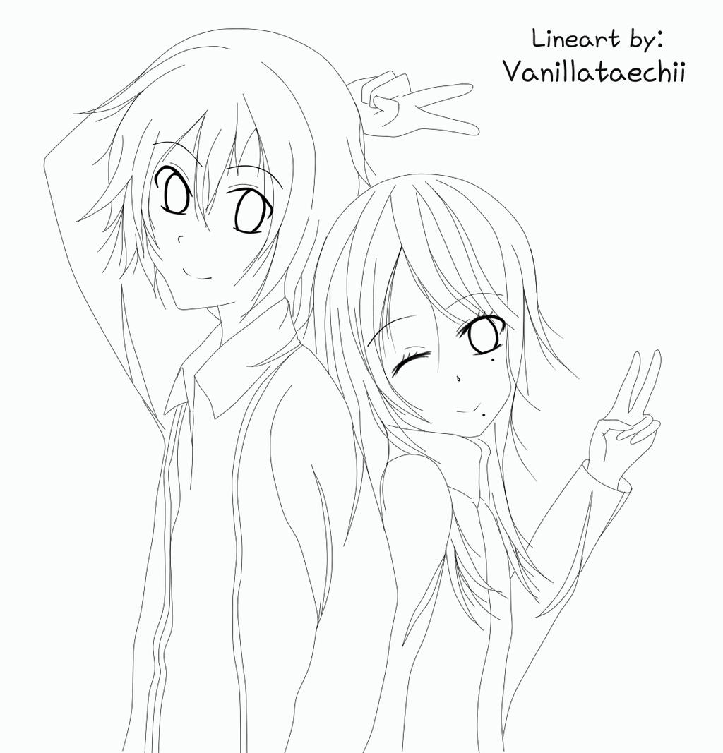 Line Drawing Couple : Lineart couple by vanillataechii on deviantart