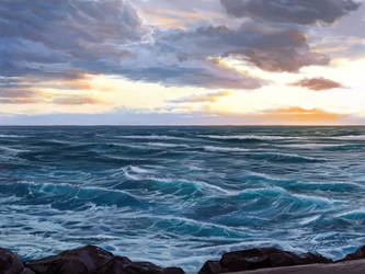 Winter sunset on the Mediterranean by PeppeTi