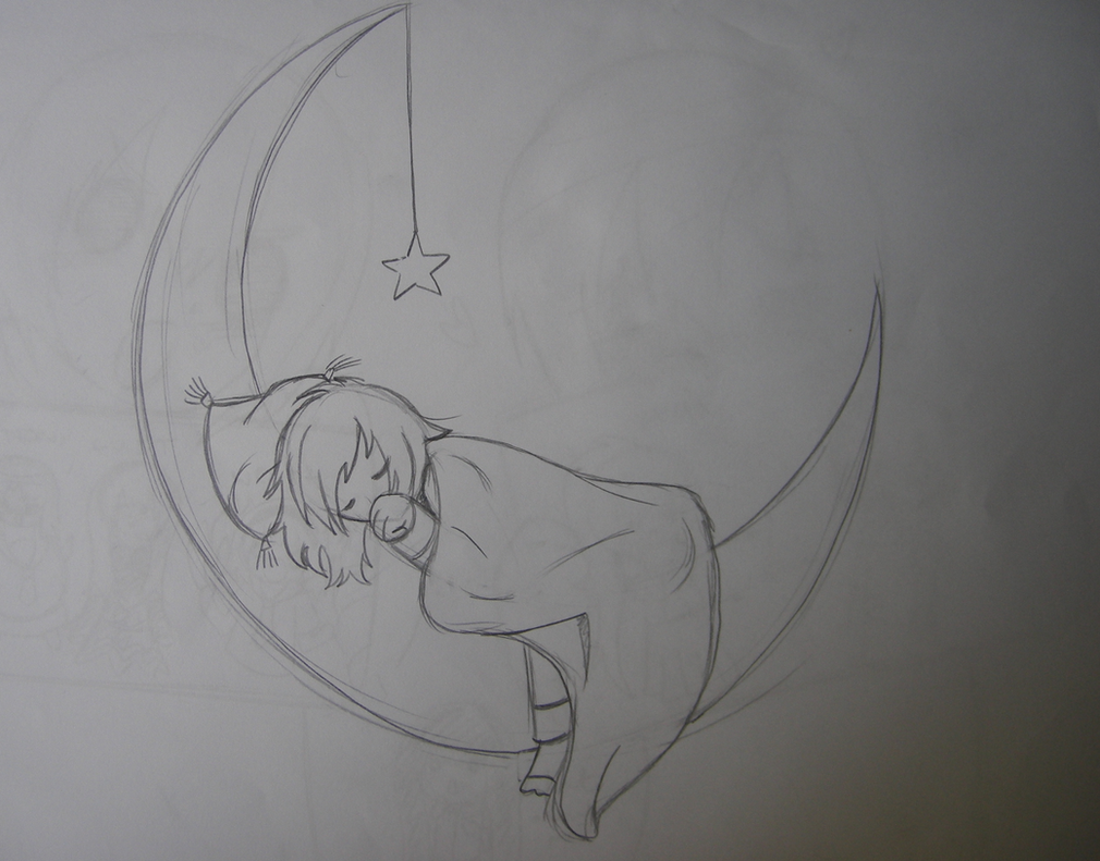 Dreaming on the moon pencil sketch by pencilbeatspaper