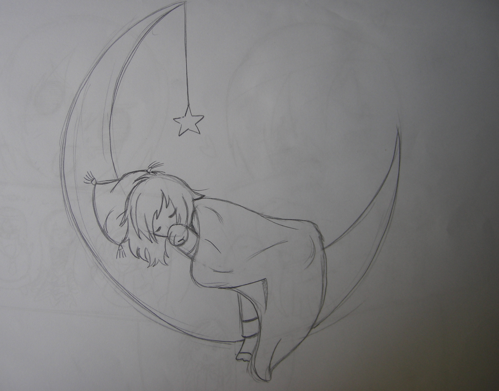 Dreaming on the moon pencil sketch by pencilbeatspaper on deviantart