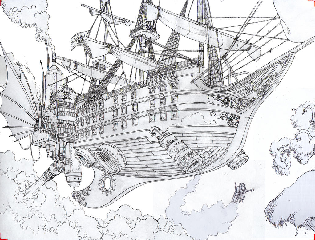 Pirate ship drawing - photo#18