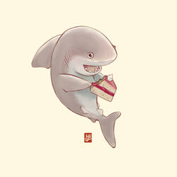 Cute shark having cake