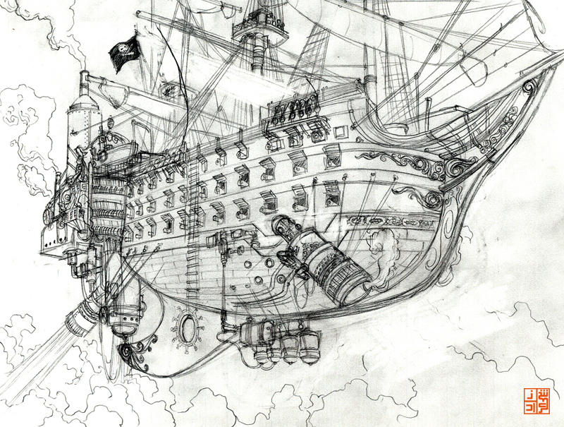 Pirate ship rough by Sheharzad-Arshad on DeviantArt