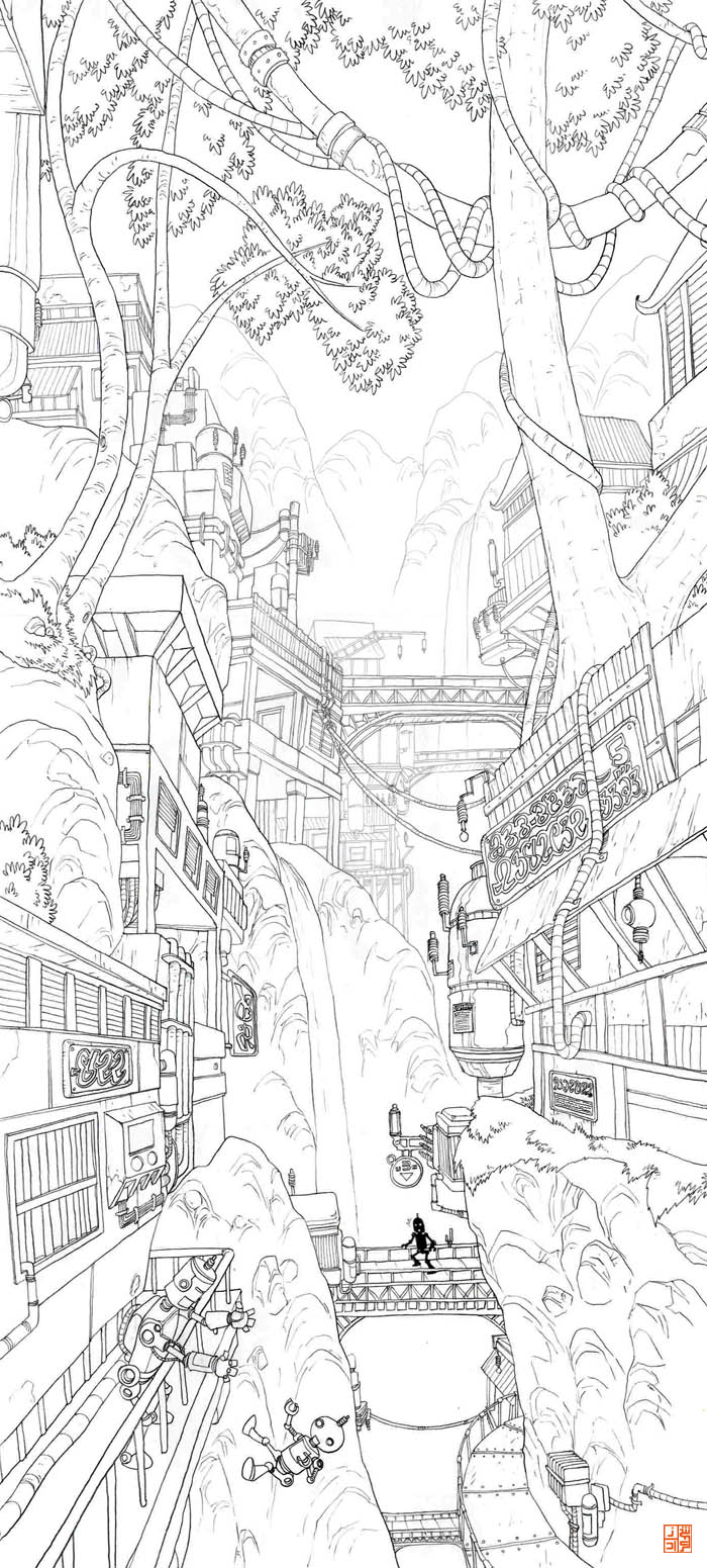 Line Drawing Waterfall : Waterfall city lineart w i p by sheharzad arshad on