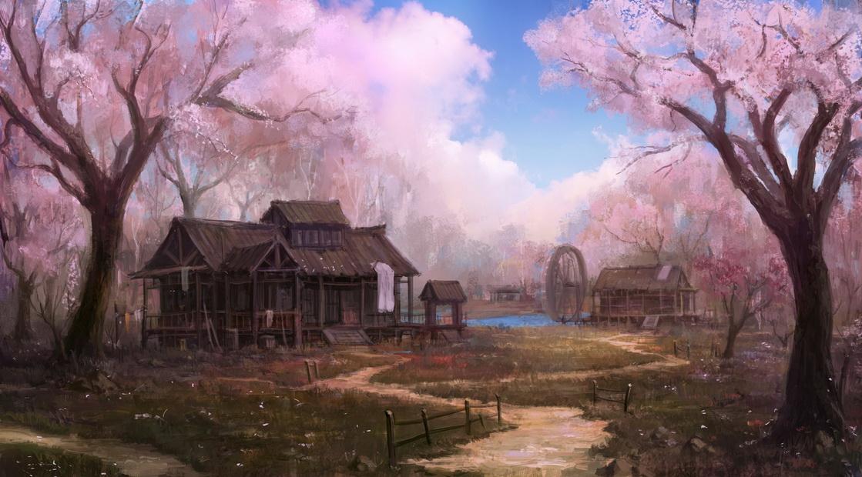 village of peach flower by wanbao