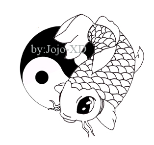 Koi Fish Drawing Simple Contour Image Of Koi Fish With Flower