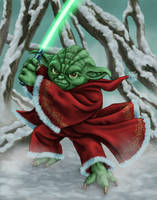 Yoda Claus by dragynsart
