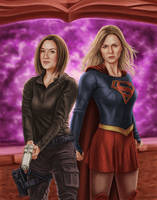 Supergirl and Agent Danvers by dragynsart