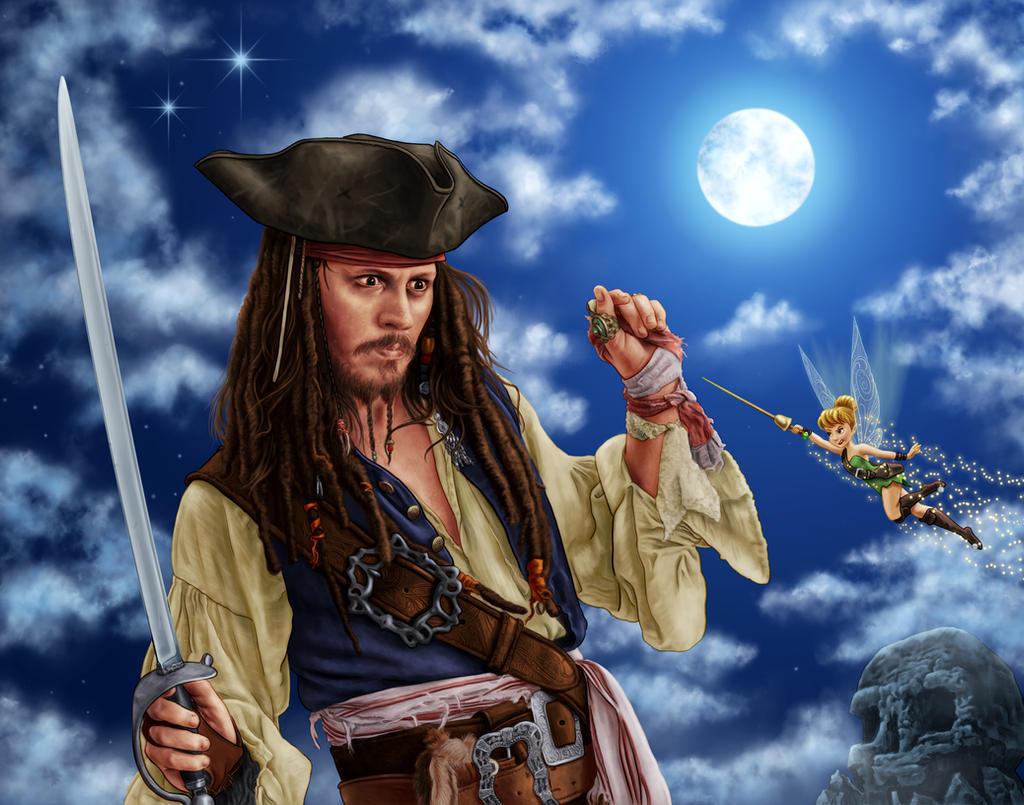 Captain Jack Sparrow meets Tinkerbell by dragynsart