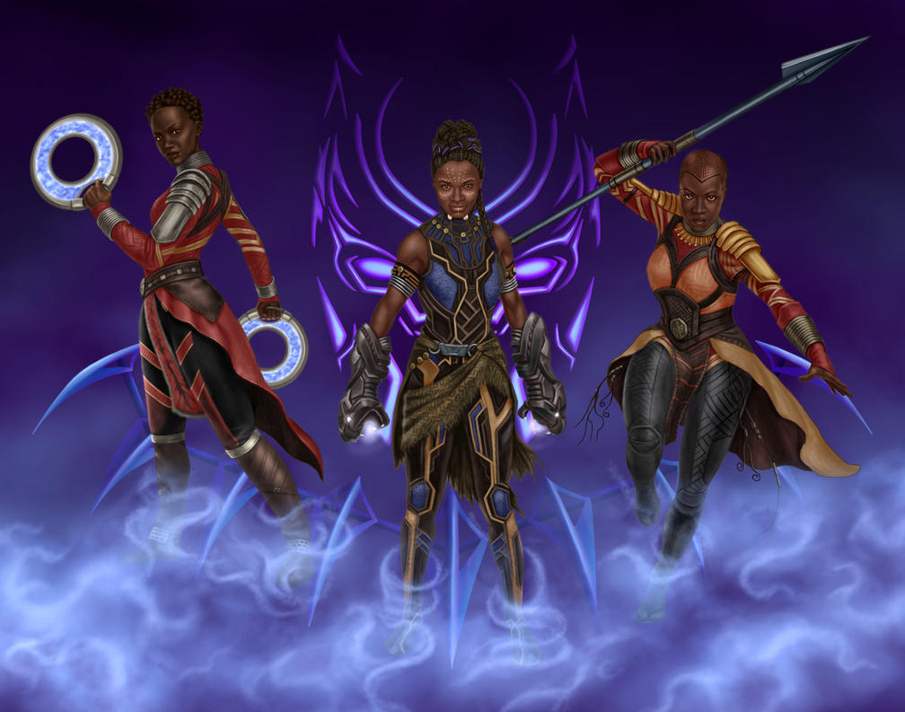 Black Panther Queens by dragynsart