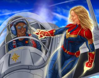 captain marvel and maria by dragynsart
