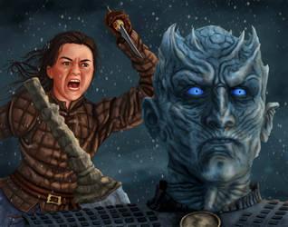 Arya Slays Night King by dragynsart
