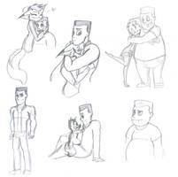 Ernie and Ruby sketch dump by RubyDawnHunter