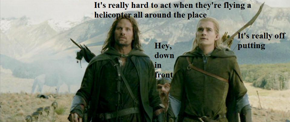 Aragorn Legolas Gimli and the Helicopter by 13Vampirella ...