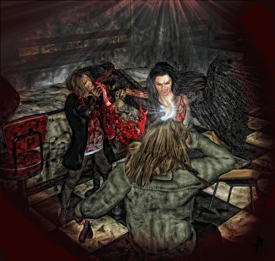 Rain Diner Scene illustration Damnation Chronicles by joseph-sweet