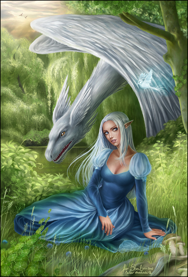 Aliele and the Furry Dragon by daekazu