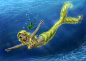 Tangled Mermaid: Rapunzel by daekazu