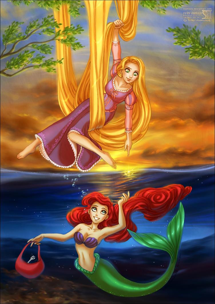 Rapunzel + Ariel by daekazu