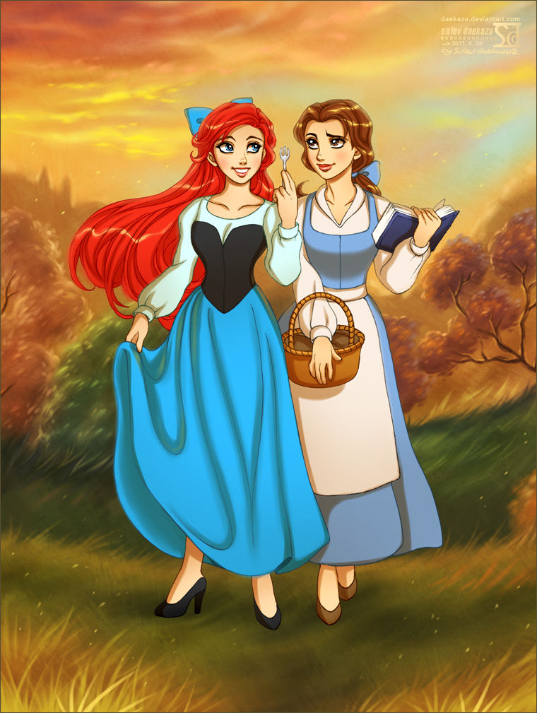 Ariel + Belle by daekazu