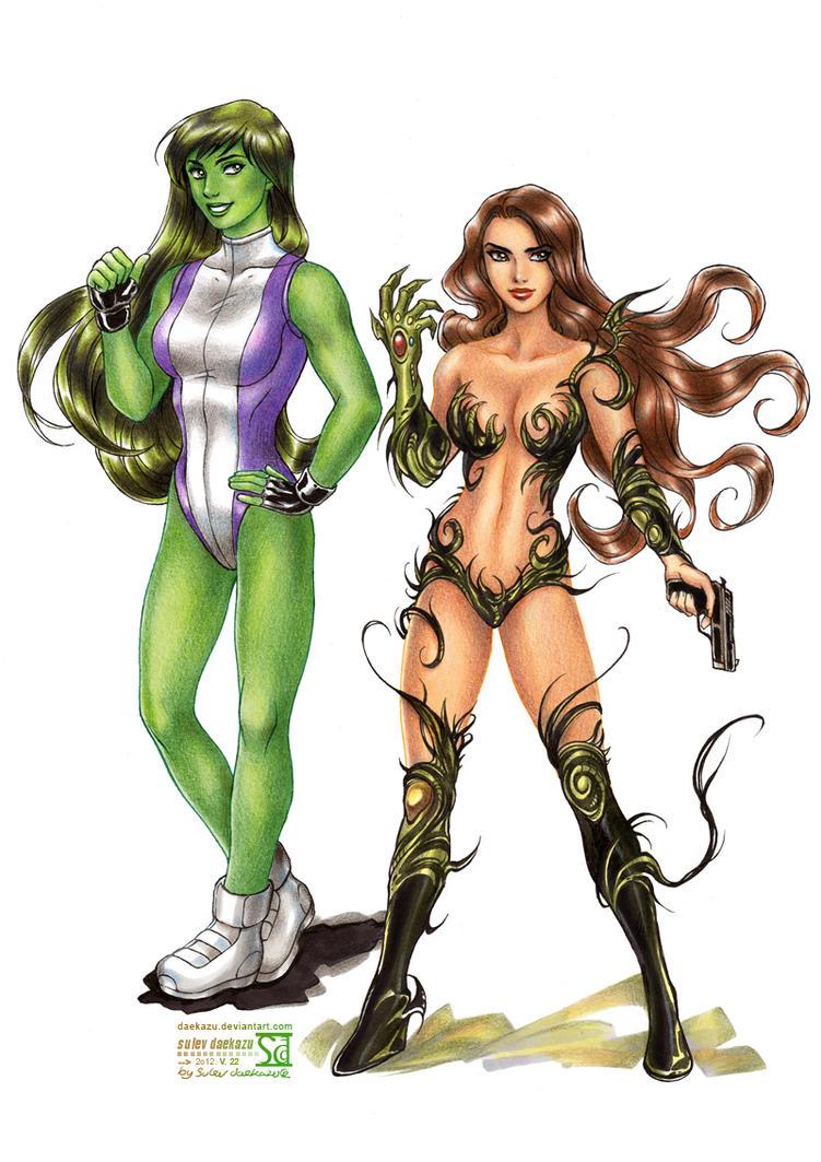She Hulk and Witchblade by daekazu