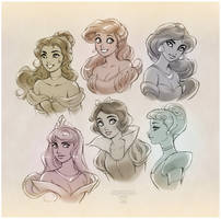 Sketchy Disney Princesses by daekazu
