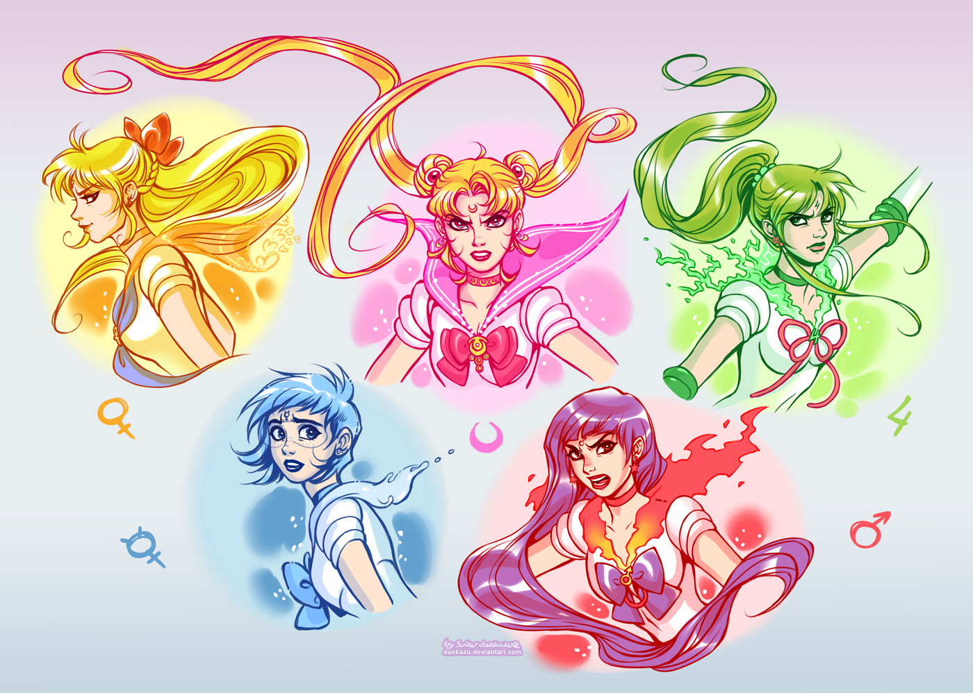 Sailor Moon: Golden 5 by daekazu