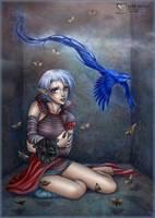 Bluebird and Moths by daekazu