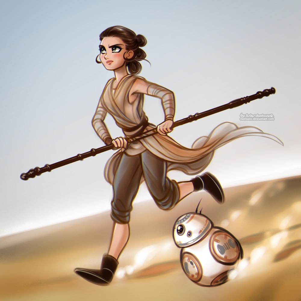 Star Wars: Rey and BB-8 by daekazu