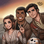 Star Wars: Rey, Finn, Poe and BB-8 by daekazu