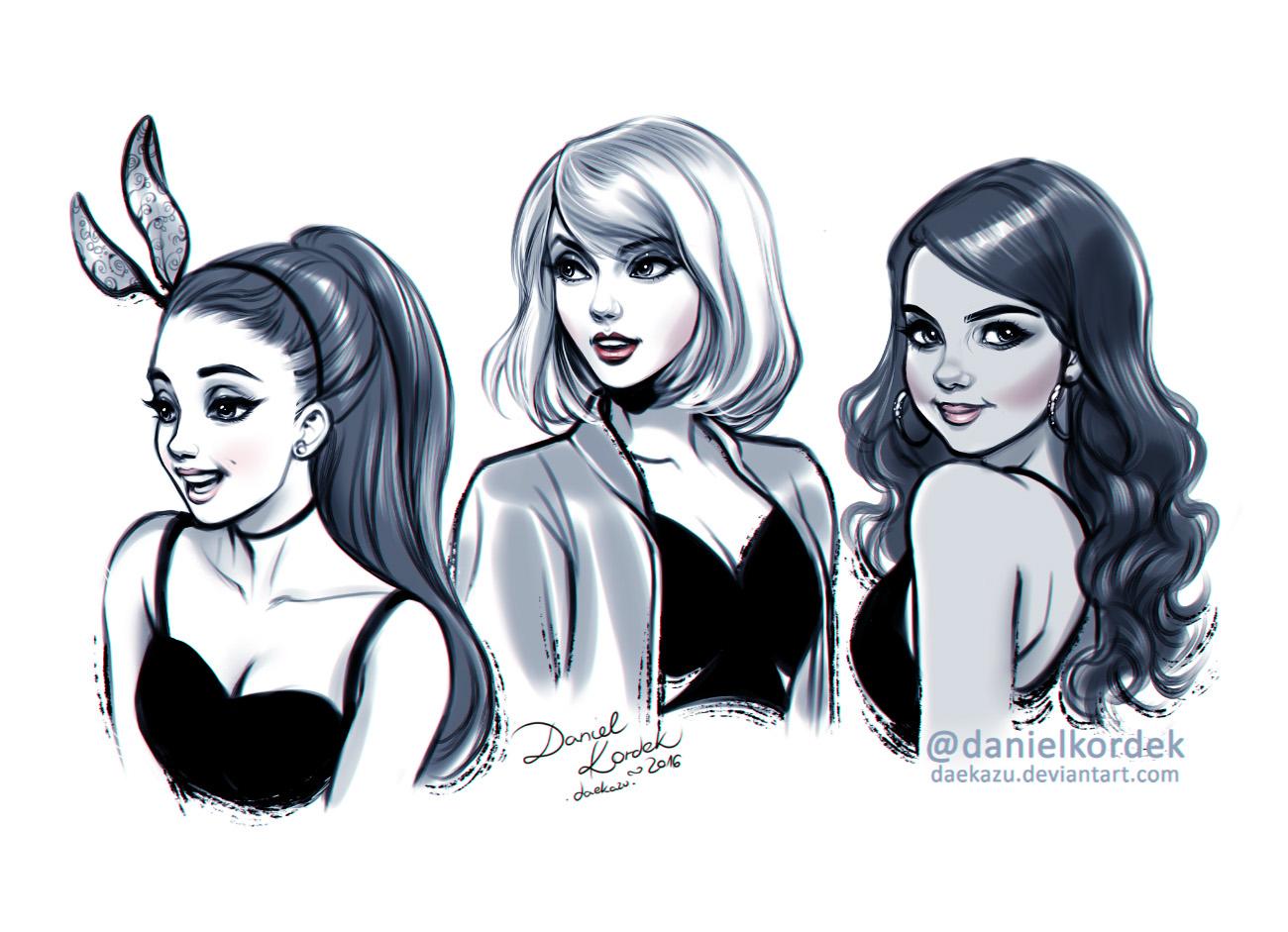 Inktober: Ariana, Taylor and Selena