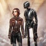 Rogue One: Jyn + K-2SO by daekazu