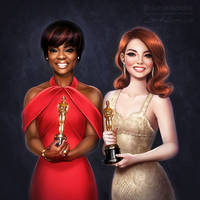 Oscars: Viola Davis and Emma Stone by daekazu