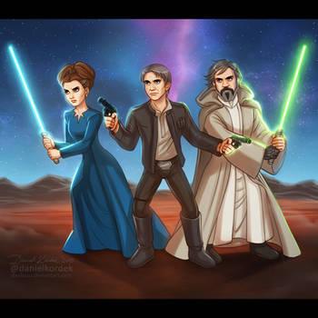Star Wars: Leia + Han + Luke by daekazu