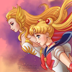 She-Ra and Sailor Moon by daekazu