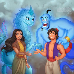 Raya and Sisu meet Aladdin and Genie