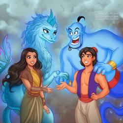 Raya and Sisu meet Aladdin and Genie