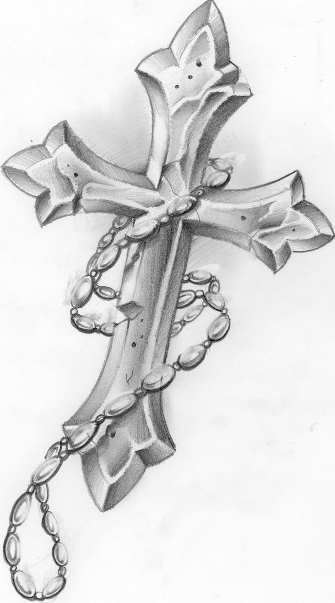 Cross with rosary beads by thirteen7s on deviantart for Rosary cross tattoo