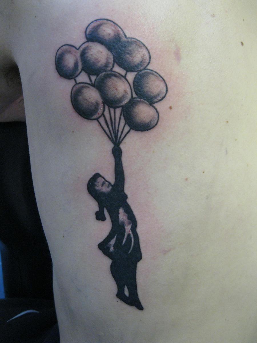 banksy  s balloon girl tattoo by thirteen7s d3du88u Free Porn Hot Men