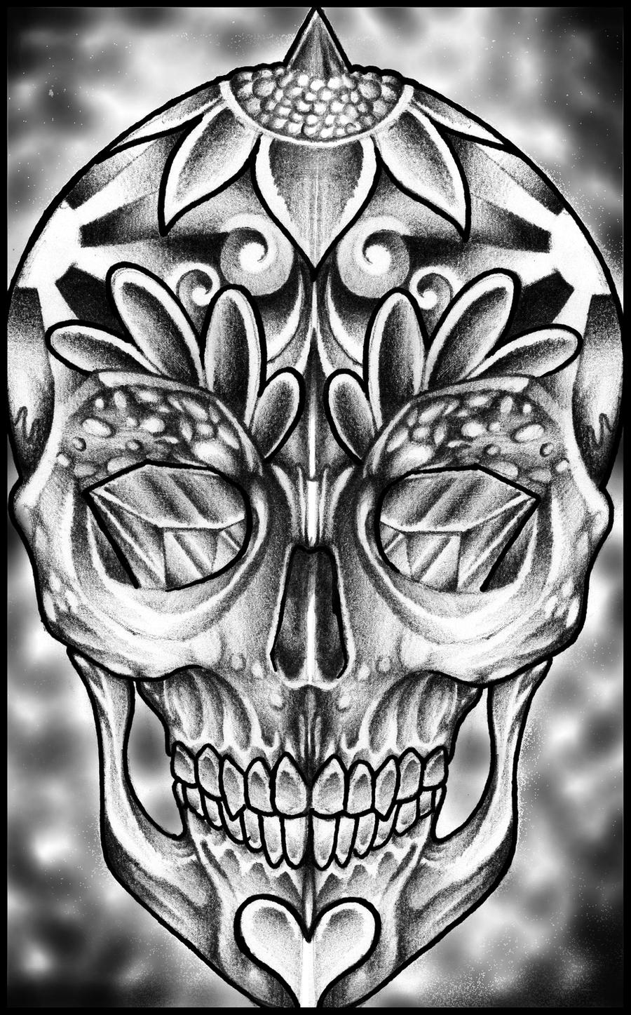 It's just a picture of Gutsy Black And White Sugar Skull Drawing