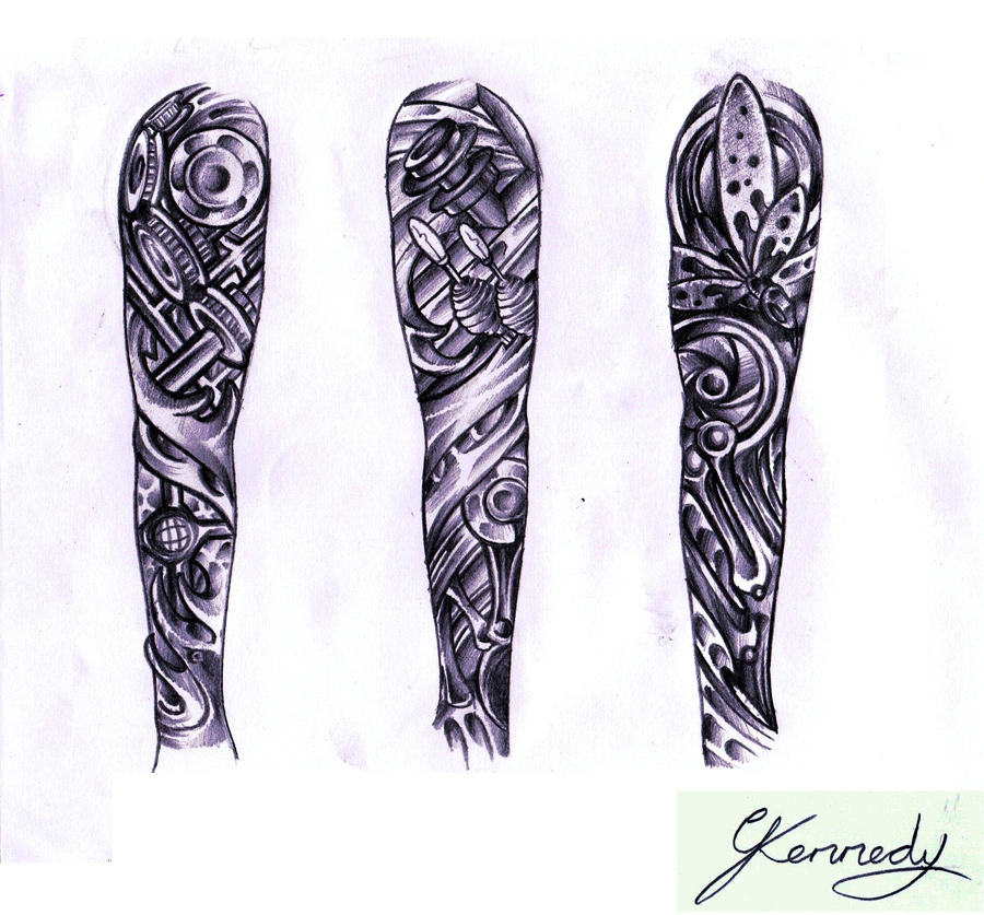 Biomechanical sleeve designs by thirteen7s on DeviantArt