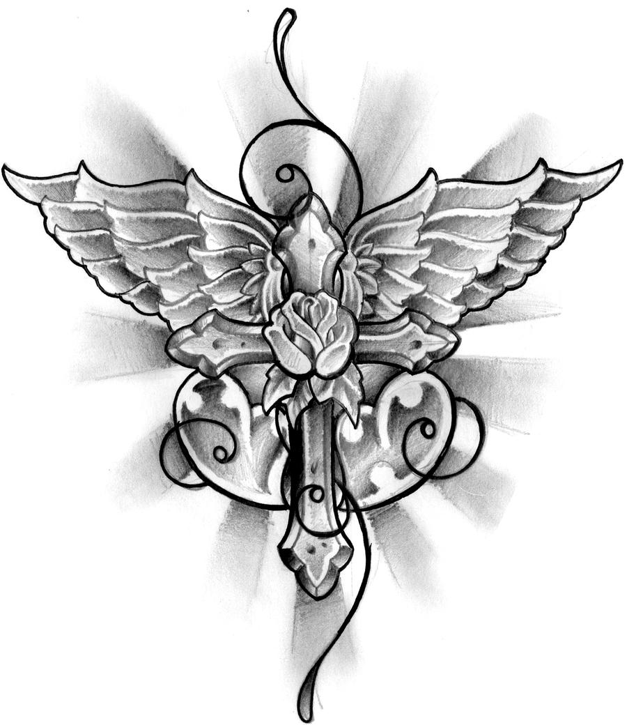winged cross tattoo design by thirteen7s on deviantart. Black Bedroom Furniture Sets. Home Design Ideas