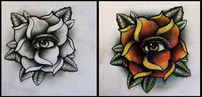 Eye In A Rose Tattoo: Rose With Eye Tattoo Design By Thirteen7s On DeviantArt